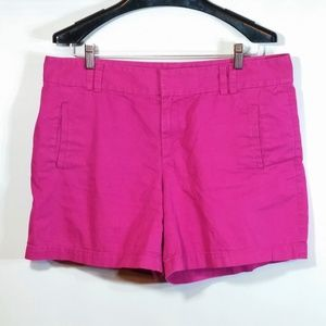 Flat Front Chino Shorts Fuchsia Hot Pink Casual